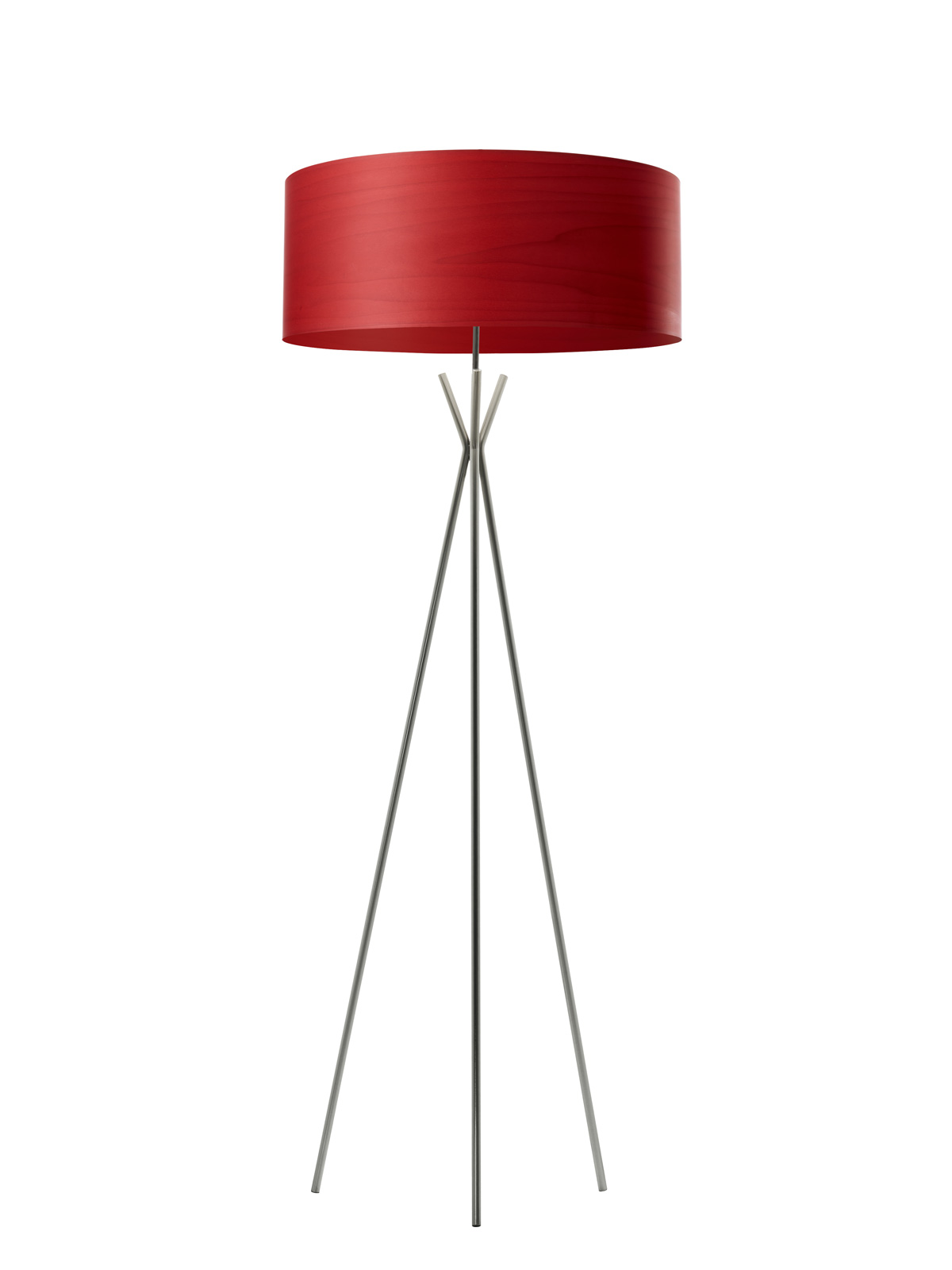 Tripod Stehlampe mit rotem Lampenschirm aus Holz Furnier LZF Lamps Gea Cosmos