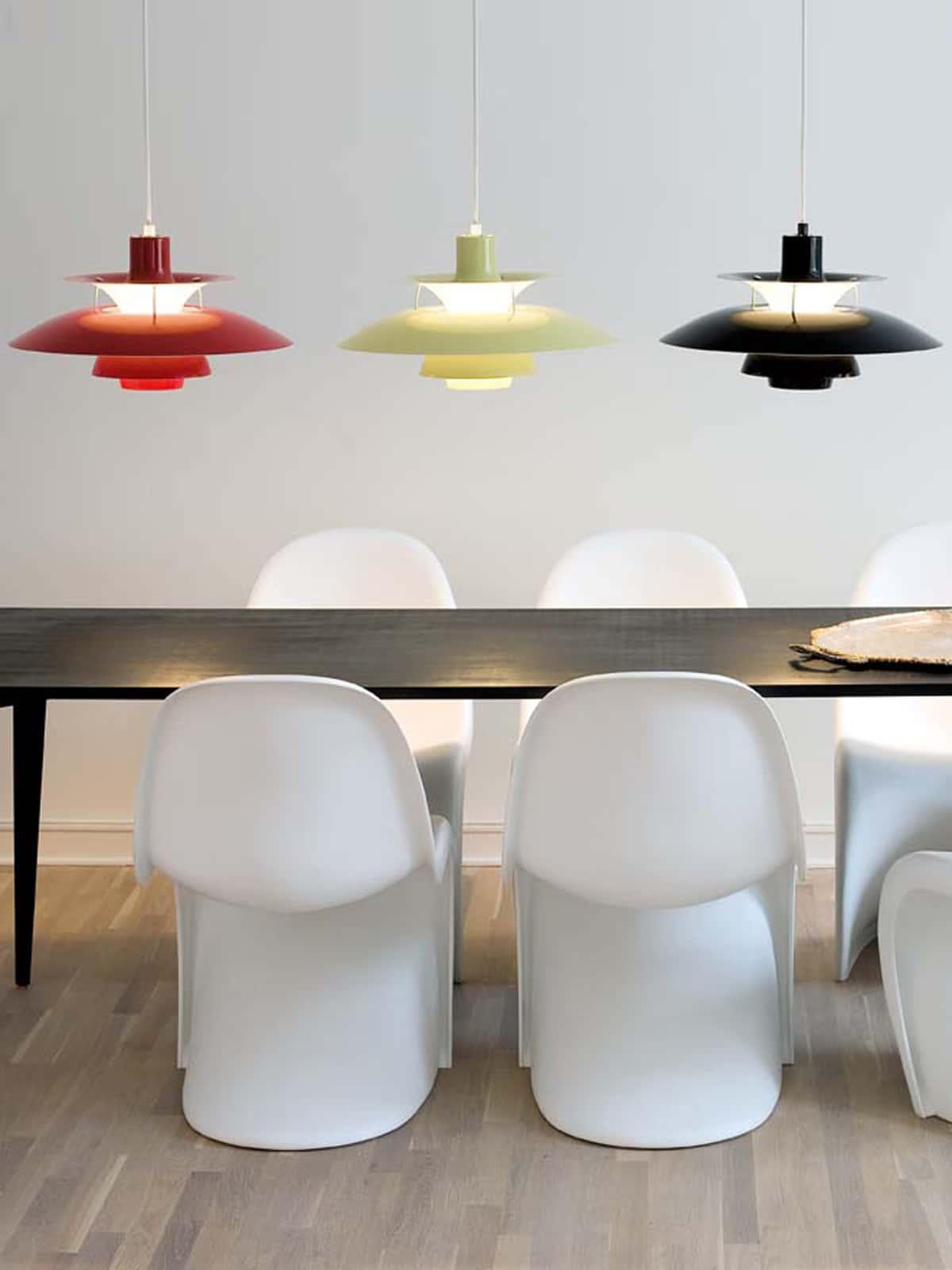 Licht und Farbe mit der Lampe PH 50 in rot, grün und olive/schwarz