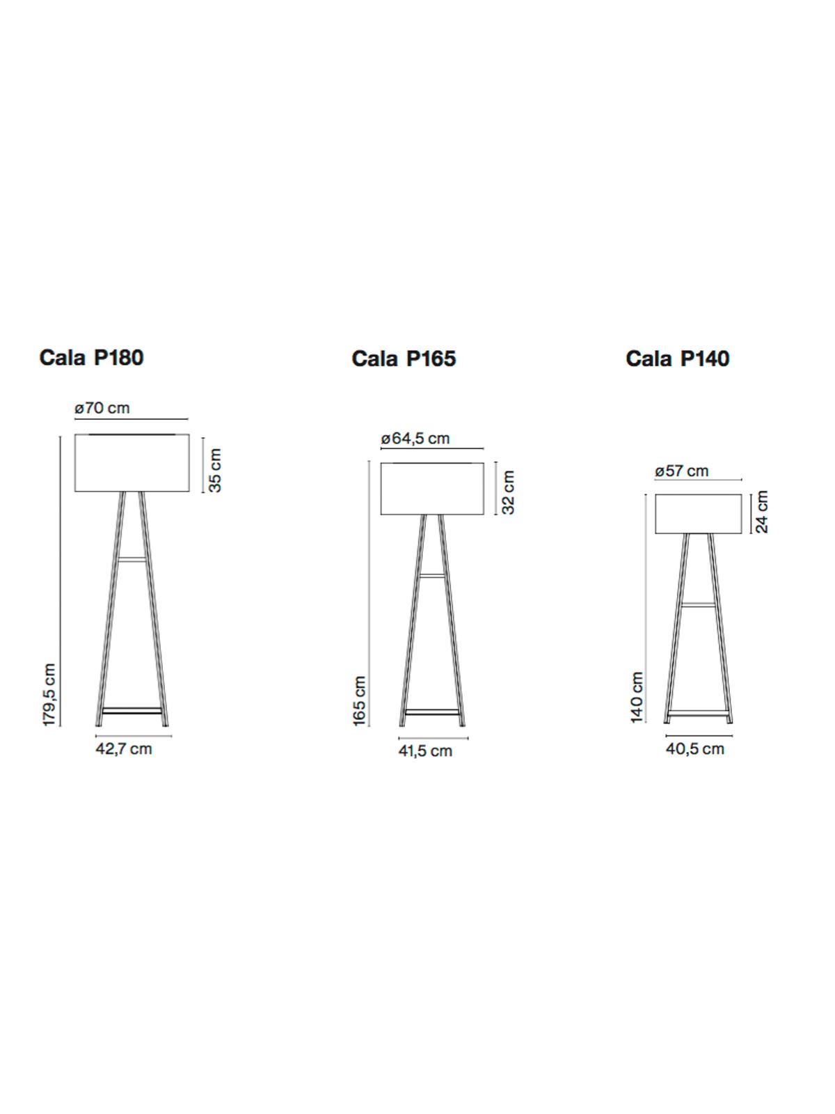 Maße der der drei Cala-Varianten