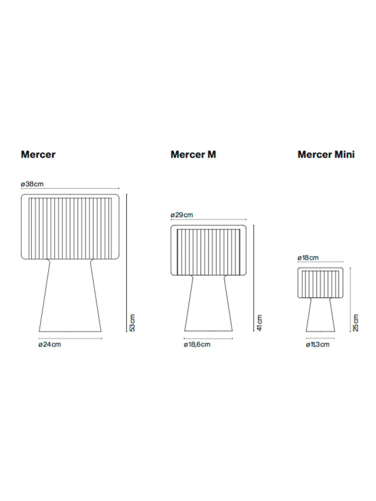 Maße der drei Mercer Tischleuchten
