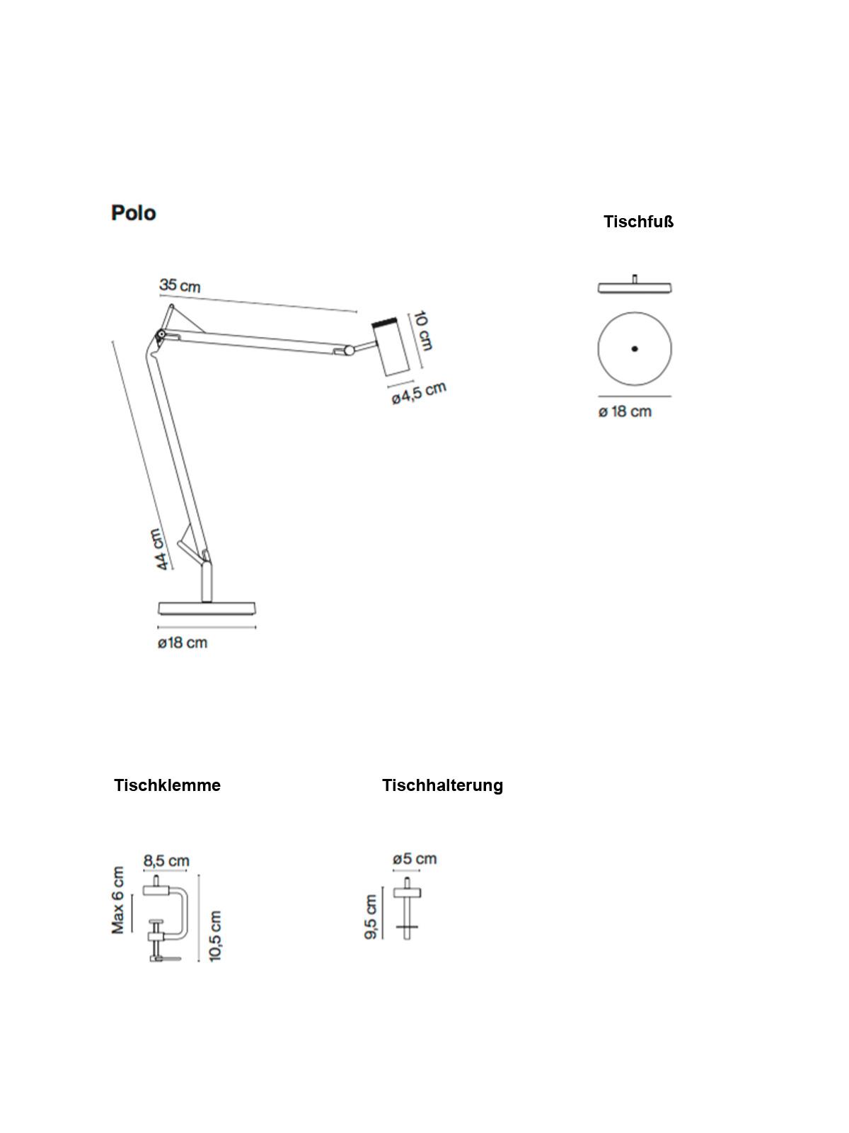 Polo Maße und Zubehörvarianten (Klemme, Halterung, Fuß)