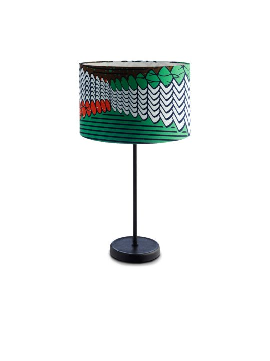 Drum Shade Table Lamp Fishscale Print