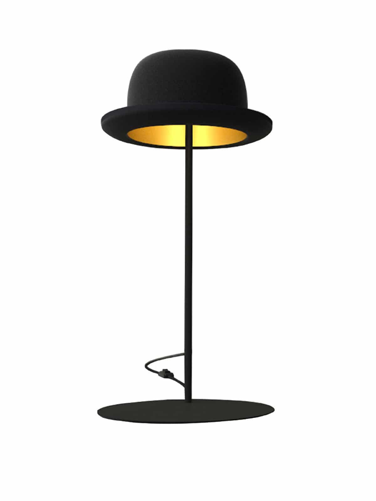 Hutlampe Jeeves Table in Form vom Melone Hut Innermost
