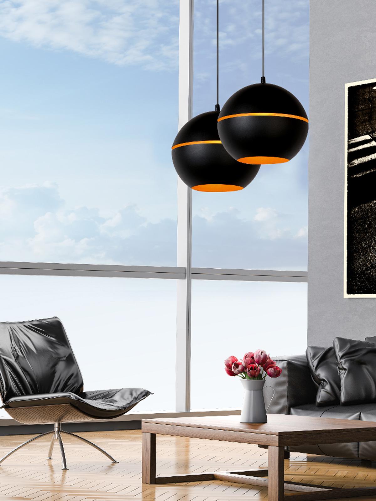 DesignOrt Blog: Die Designwelt von Lucide schwarz goldene Pendelleuchte Binari