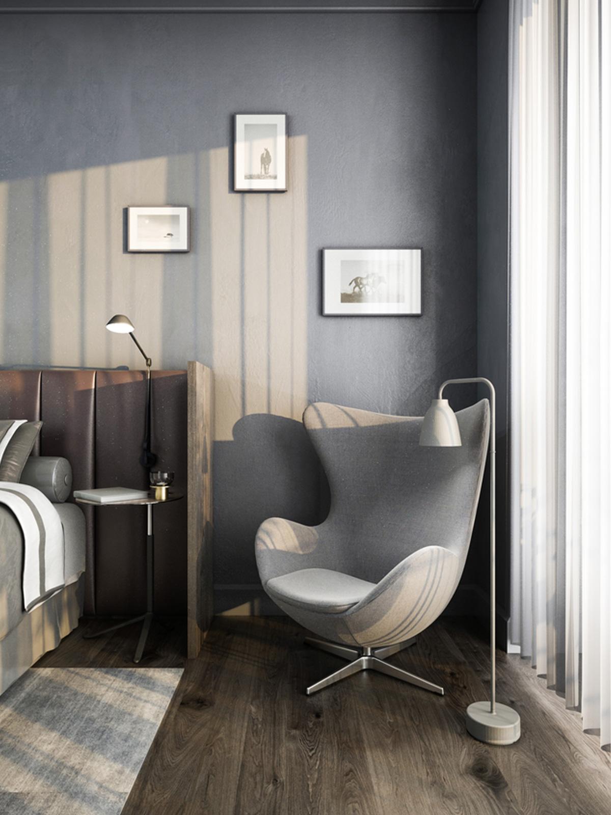 Schlafzimmer mit Caravaggio Read Floor Stehleuchte