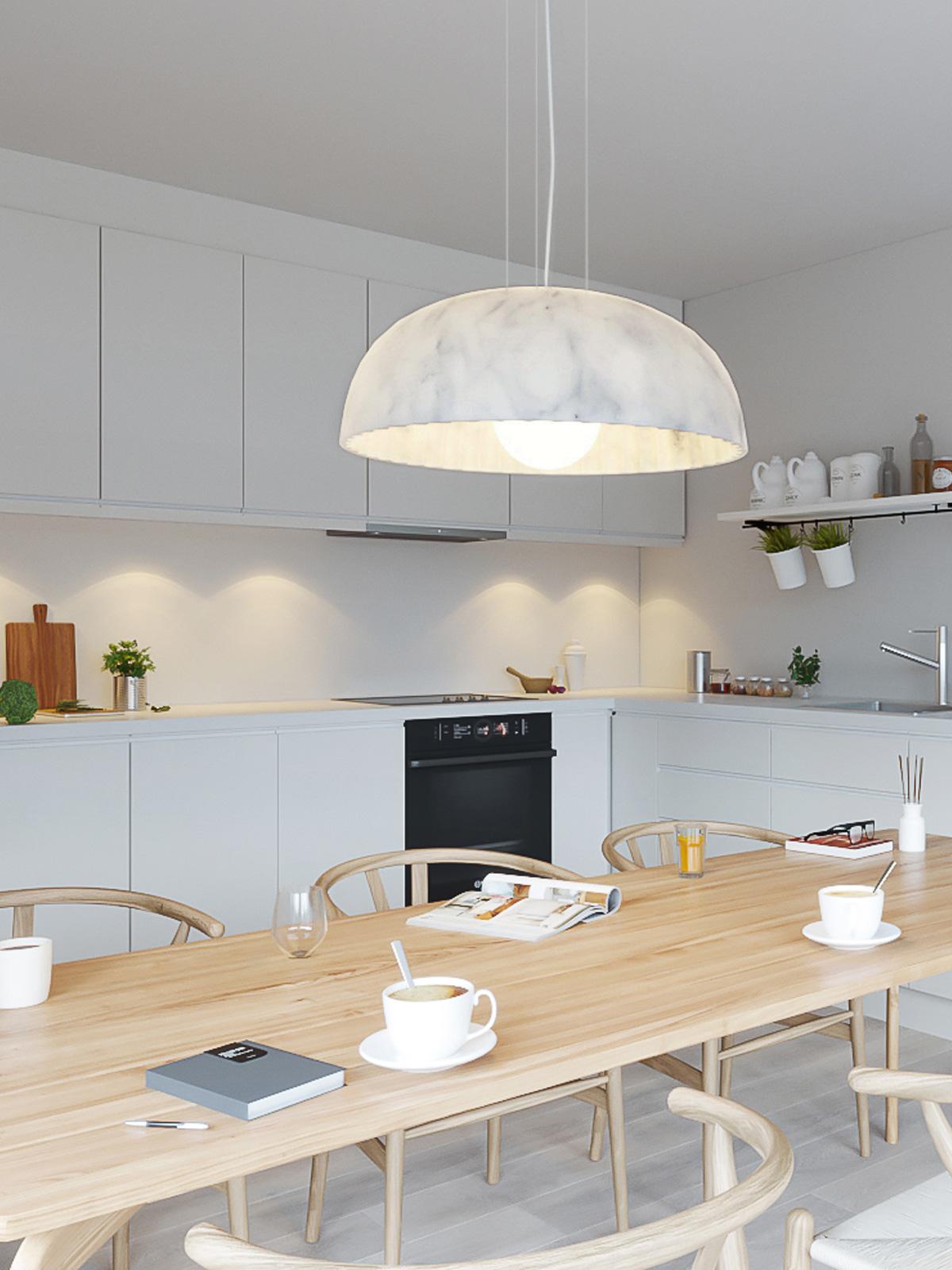 DesignOrt Blog: Neue Leuchten für den Esstisch Doric Pendelleuchte aus Wachs in Marmor Optik Innermost Designort Berlin