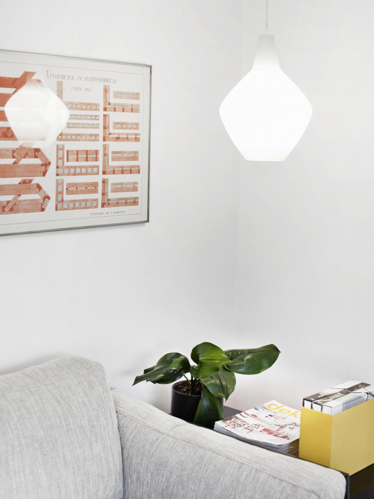Sipuli klassische finnische Designerleuchte von Lisa Johansson-Pape skandinavisches Design Innolux Glaslampe Opalglas