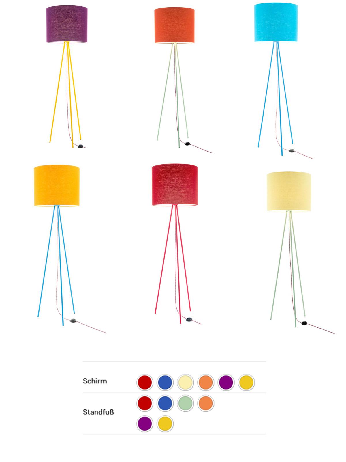Lumbono Stehlampe Übersicht Textil Farben DesignOrt Onlineshop Leuchten Berlin