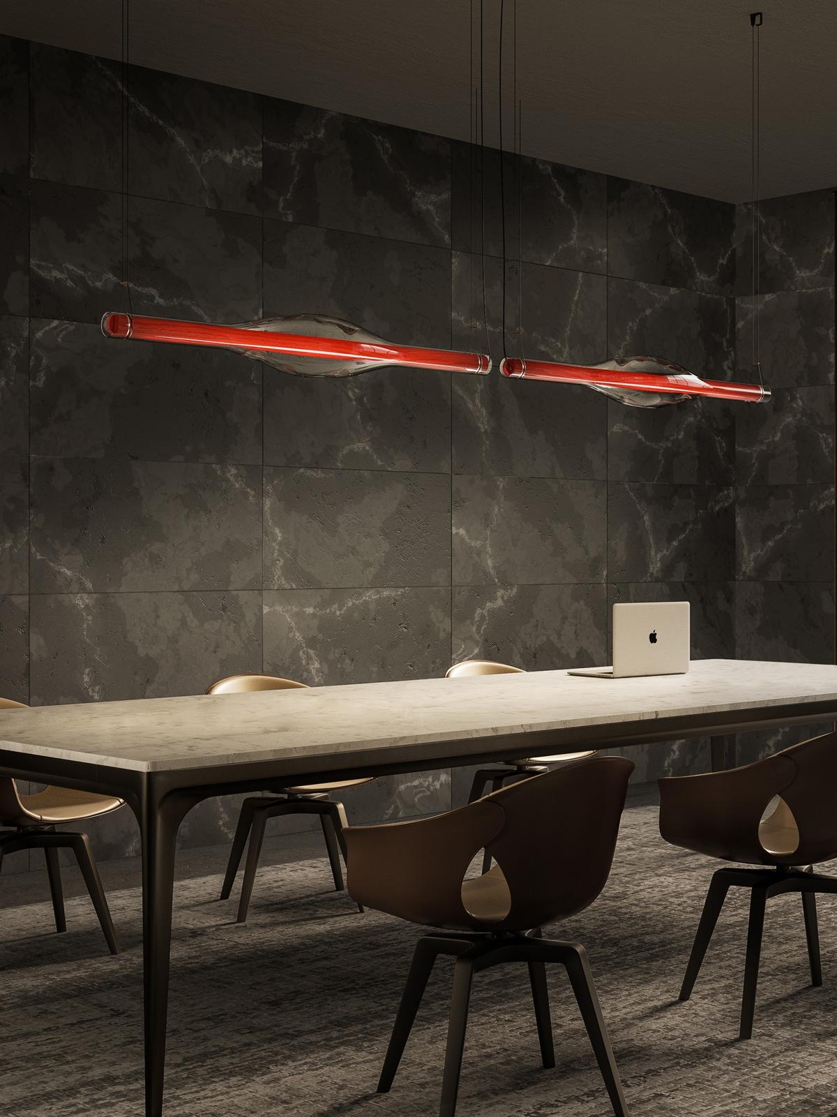 Dune lange Pendelleuchte Holz und Glas DesignOrt Onlineshop Designerleuchten Berlin