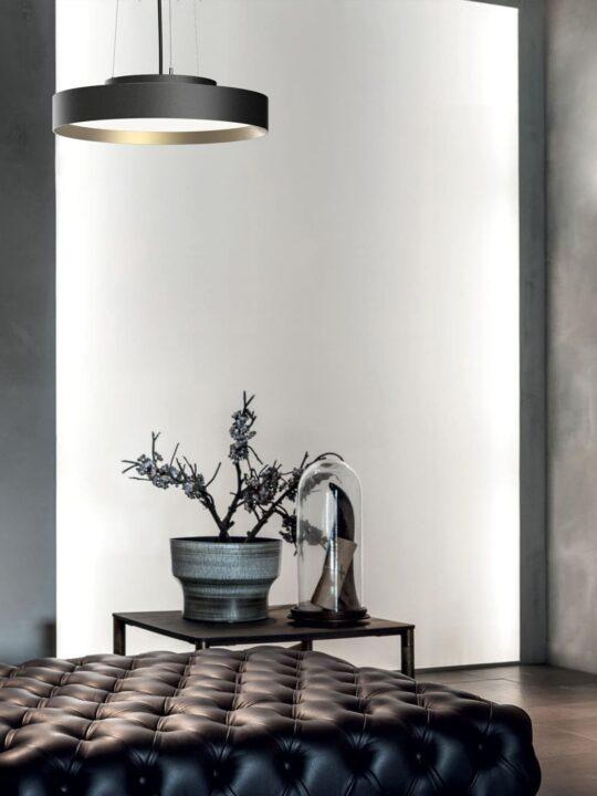 LOOM Design Leuchte flache Lampe LUCIA Cable in Schwarz Gold
