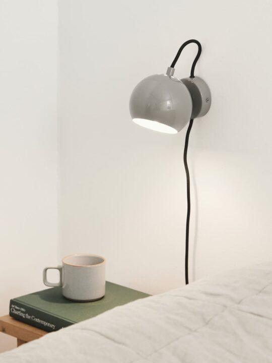 Ball Wandleuchte Grau Glänzend Frandsen Lampe Onlineshop DesignOrt
